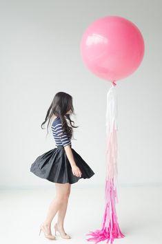 Pink balloon with ombre tassels Diy Tassel, Tassels, Balloon Tassel, Ombre Rose, Large Balloons, Party Skirt, Wedding Balloons, Geronimo, Bat Mitzvah