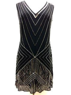 BNWT-Gatsby-BLACK-Dress-Tunic-Top-Evening-1920s-Shift-Dress-Size-8-10-12-14-16