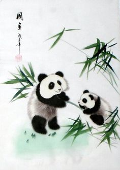 Oriental Asian Art Chinese Silk Painting Panda Bear | eBay