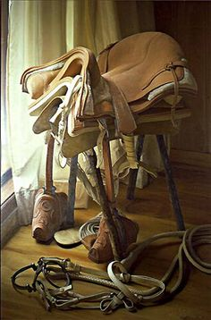 Looks so real you could touch it. Claudio Bravo, American Realism, Horse Gear, Realistic Paintings, Still Life Art, Photorealism, Western Art, Beautiful Artwork, Contemporary Artists