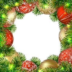 Transparent Christmas PNG Border Frame with Ornaments