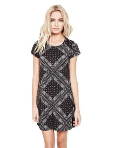 Michael Lauren Cuba Mini T-Shirt Dress in Bandana | Shop SWANK