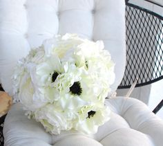 Anemone and Ranunculus Bouquet in White and Cream by Lilywinkel, $140.00