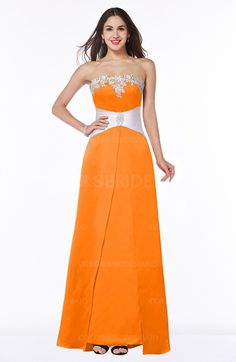Orange Affordable Modern A-line Strapless Zipper Floor Length Sash Plus Size Bridesmaid Dresses can be accessed at colorsbridesmaid.com. The A-line, Floor Length, Ribbon and Satin make the best Bridesmaid Dresses.