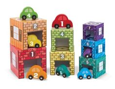 Amazon.com : Melissa & Doug Nesting, Sorting Garages and Cars : Sorting And Stacking Baby Toys : Toys & Games