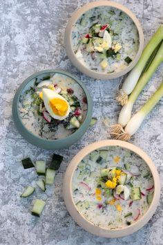 Boldog Kukta: Okroska - Az oroszok nyári levese Kefir, Fresh Rolls, Ethnic Recipes, Food, Essen, Meals, Yemek, Eten