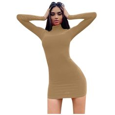 Elegant Women Sexy Tight Solid High Collar Long Sleeves Hip Dress Mini Club Dresses, Midi Dresses, Tight Dresses, Casual Dresses, Prom Dresses, Tight Long Sleeve Dress, High Neck Dress, Midi Cocktail Dress, Flappers