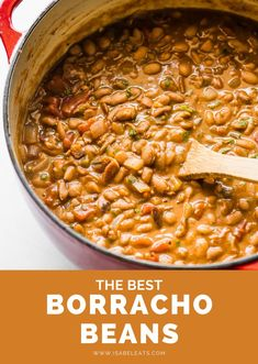 Tender and creamy Borracho Beans (or Frijoles Borrachos) are an easy Mexican dish made from pinto beans simmered in a beer broth with bacon, onions, tomatoes and spices. Serve with a side of cornbread or flour tortillas for the perfect Tex-Mex dinner! #borrachobeans #beans #pintobeans