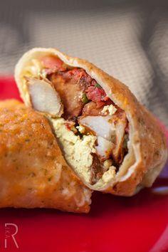 (Eugene, Oregon) Cornbread Cafe: Massive #Vegan Breakfast Burrito (Herbed Potatoes, Sheree's famous Eggfu, tempeh bacon, unCheese sauce, salsa and garnished cilantro)