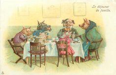 LE DEJEUNIER DE FAMILLE  pig family having a meal