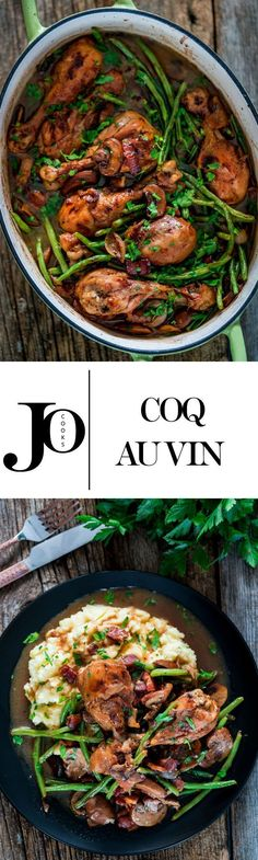 Coq Au Vin with Mashed Potatoes - This French dish is made with chicken braised…