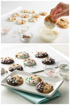 Chocolate chip cookies dipped in chocolate and topped with holiday sprinkles are an easy treat at any holiday occasion.