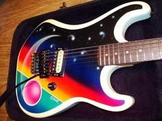 Does it get more 80s? '85 Kramer Baretta with Galactic Rainbow graphics. #guitar #guitarporn