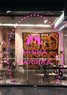 Photo of the window graphics we made for the new Minna Parikka store in Kluvi Helsinki. Its huge 3 meter high graphic made from special neon pink vinyl. Window Graphics, Corporate Interiors, Studio, Signage, Neon Signs, Windows, Studios, Billboard, Window Stickers