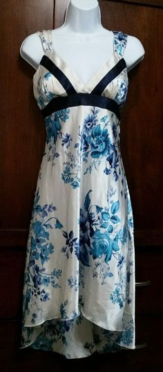 dfad0f4c4 Vtg. Beautiful White Turqouise Floral Hi-Low Silk Nightgown Empire Waist S