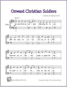 Onward Christian Soldiers | Free Easy Piano Sheet Music for piano lessons at home