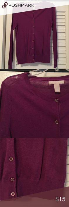 Cardigan Purple cardigan, gold detail in buttons. Like new condition. Banana Republic Sweaters Cardigans
