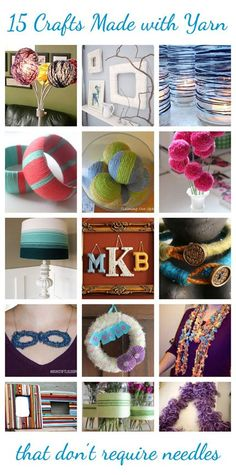 15 Crafts Made with Yarn that don't require needles @CraftBits & CraftGossip