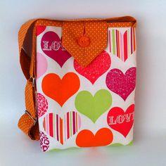Handbag for Girls, Hearts Tote, Small Cotton Fabric Purse, Cute Carryall Bag, fashionable crossbody