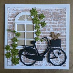 T t bike brick wall ivy. Cute Cards, Diy Cards, Bicycle Cards, Window Cards, Die Cut Cards, Marianne Design, Masculine Cards, Greeting Cards Handmade, Scrapbook Cards