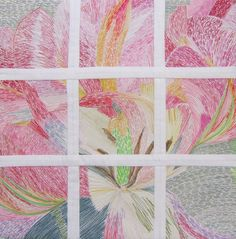 Textile Art by Ingrid EllisExquisite and quirky textile art: stitched textiles, collages, wall quilts, paintings and photographs. Textile Art, Hand Stitching, Collages, Tulips, Mixed Media, Window, Textiles, Frame, Glass