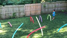 Pool Noodle Obstacle Course * ages ⋆ Raising Dragons This pool noodle obstacle course took only about 15 minutes set up and entertained the kids all afternoon! The post Pool Noodle Obstacle Course * ages ⋆ Raising Dragons appeared first on Pink Unicorn. Toddler Learning Activities, Preschool Activities, Homeschool Kindergarten, Educational Activities, Pool Activities, Kindergarten Music, Children Activities, Family Activities, Activity Games