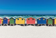 Colourful houses on the beach / Landscapes / Postcards / Postallove - postcards made with love Small Island Developing States, British Seaside, Island Nations, Destinations, Beach Landscape, Countries Of The World, House Colors, Summer Beach, South Africa