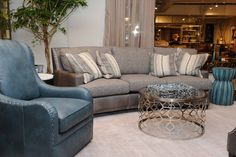 The new Marlin sofa from Bradington-Young in the Hub of the Hooker Furniture showroom at the International Home Furnishings Market.