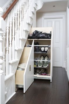 Pretty Storage Design Ideas Under Stairs Sliding Cupboard, Small Cupboard, Coat Cupboard, Staircase Storage, Stair Storage, Closet Storage, Closet Under Stairs, Make A Closet, Small Hall