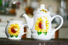 Set čajník a šálka - Slnečnice by handloved.com - SAShE.sk - Handmade Šálky/Teapot and mug