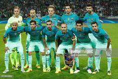Barcelona's German goalkeeper MarcAndre Ter Stegen Barcelona's Argentinian defender Javier Mascherano Barcelona's Croatian midfielder Ivan Rakitic...