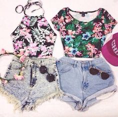 Love the floral print halter top!