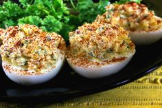 Loaded Deviled Eggs Recipe:) Uses Sour Cream & Vinegar for Extra Tang:)
