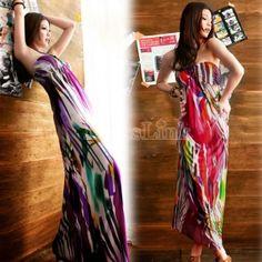 $10.70New Fashion Women's Girl Bohemia Dress Strapless Maxi Long Beach Dress