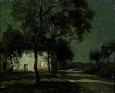 """François Charles Cachoud, """"A Village in the Moonlight; The Road at Night"""" (Pharyah) Fantasy Landscape, Landscape Art, Landscape Paintings, Landscapes, Great Paintings, Aesthetic Pictures, All Art, Illustration Art, Artwork"""