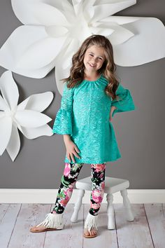 Ryleigh Rue Clothing by MVB - Girls Fully Laced Bell Sleeve Tunic Neon Mint, $32.00 (http://www.ryleighrueclothing.com/new/girls-fully-laced-bell-sleeve-tunic-neon-mint.html/)
