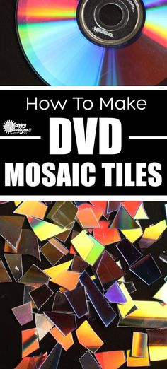 Learn how to turn your old CDs and DVDs into mosaic tiles for art and craft projects, Christmas ornaments, garden ornaments etc. It's so easy! All you need is a hairdryer, scissors and some old discs. Recycled Crafts Kids, Cd Crafts, Arts And Crafts Projects, Recycled Art, Projects For Kids, Crafts For Kids, Paper Crafts, Adult Crafts, Recycled Glass