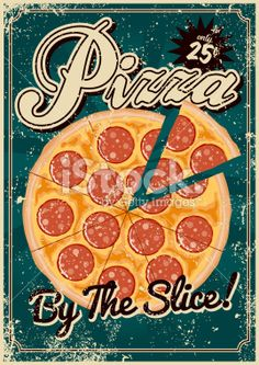 Vintage Screen Printed Pizza Poster Royalty Free Stock Vector Art Illustration