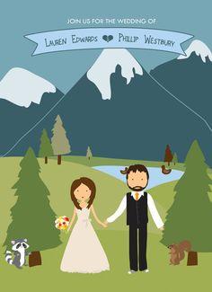 Custom Illustrated Wedding Invitation by BisforBrown on Etsy, $35.00