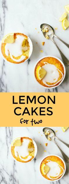 Mini lemon cakes for two baked in a ramekin. Small batch cake for two. Lemon desserts for two.