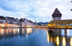 Lucerne's Chapel Bridge in Switzerland.  Definitely one of my favorite cities in the whole world!