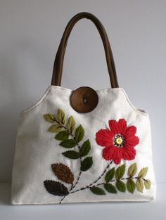 not my bag...yarn embroidery bag with the flower