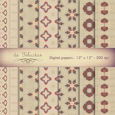 digital paper, scrapbooking, patterns, printable, downloadable