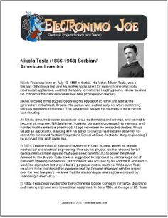 Nikola Tesla | Free Printable Biography for Kids  -> Proof video and link for my free 800 a day method Energy-millionaires.com
