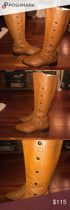 """Michael Kors Carney Leather Boots Like new Michael Kors luggage color """"Carney"""" leather boots with gold hardware. Boots are super soft and comfortable and zip up the inside. Gold inside adds a great touch! Perfect for fall and winter. Size 7.5 Michael Kors Shoes"""