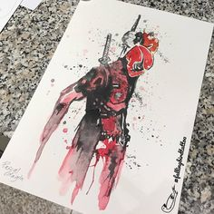 Deadpool Watercolor Tattoo Watercolour Wasserfarben sketch drawing Marvel