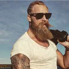 Beard handlebar moustache