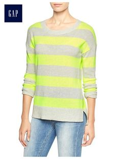 Factory stripe drop-shoulder crewneck sweater