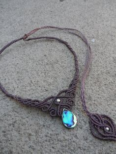 Abalone Macrame necklace choker & tiara stone size by LaQuetzal