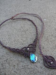 Abalone - Macrame necklace, choker & tiara, stone size approx. 2.7cm / 1.4cm